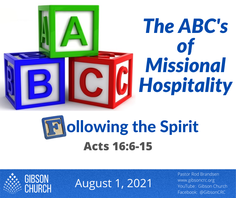 The ABC's of Missional Hospitality–Following the Spirit